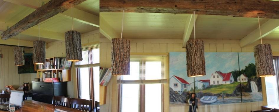 Lampe de salle a diner sur mesure avec pourtre bois de grange