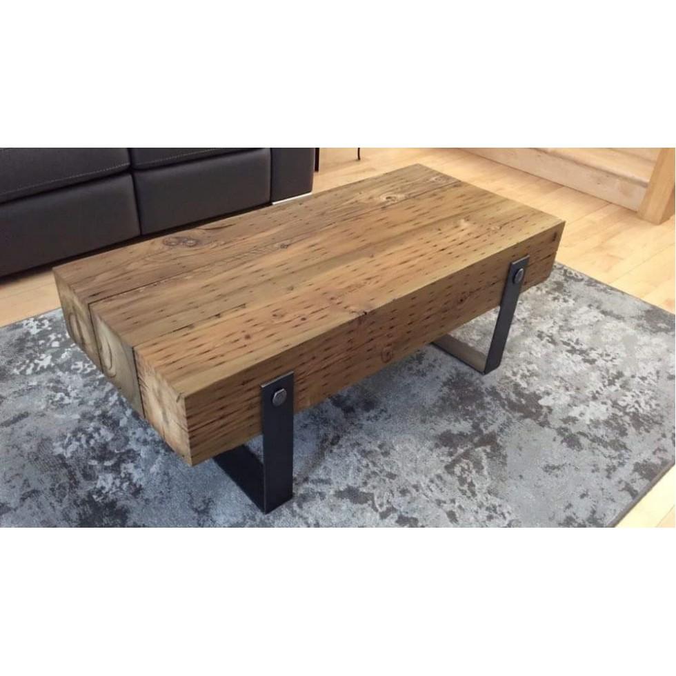 Table de salon en petit poutre, sur mesure