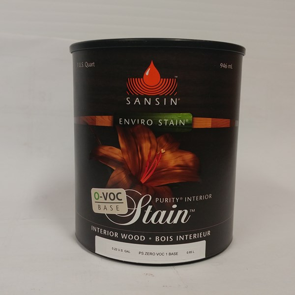Purity 0-VOC Stain – Sansin Format : 946 ml et 3,78 L.