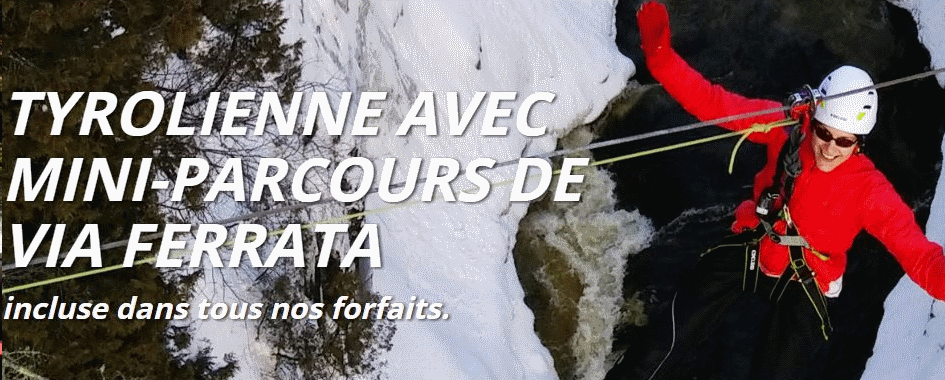 Tyrolienne hiver Chute Ste-Anne Québec